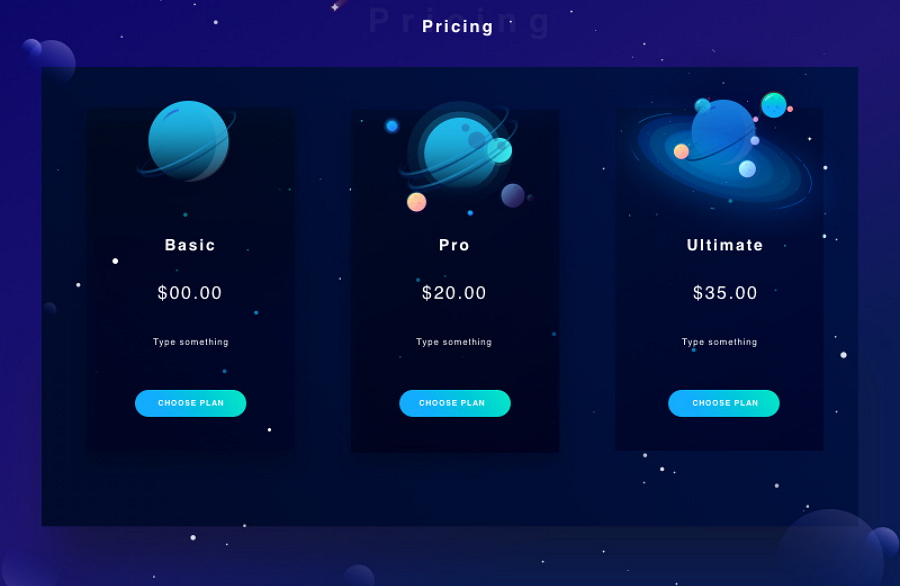 Pricing Page with Dark Theme