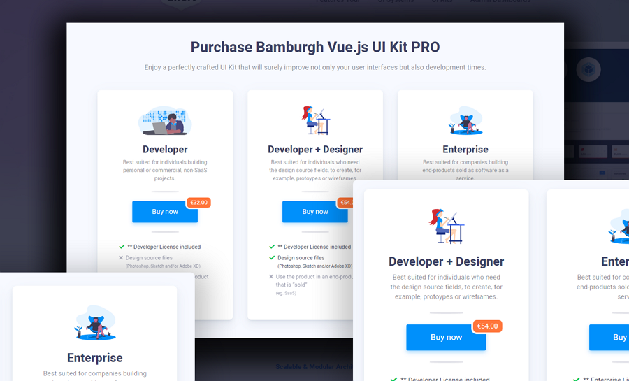 Pricing table with illustrations