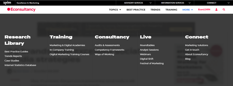 Econsultancy Website Semi Transparent Background