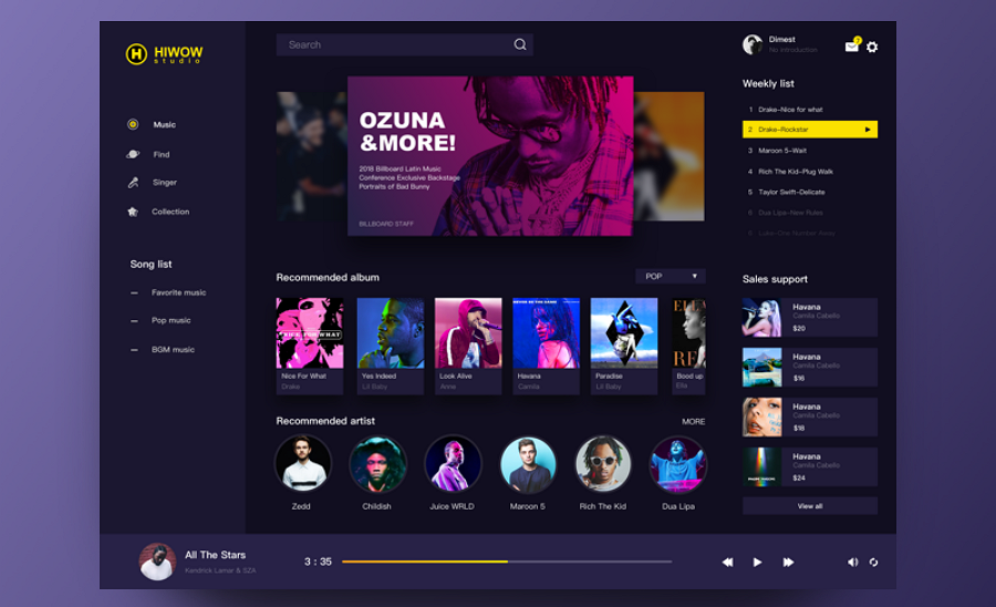 Create Interactive Music Player Dashboard in Mockplus
