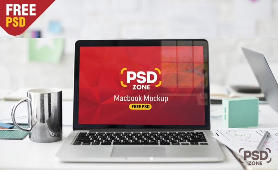 Red Macbook Pro Mockup Free PSD
