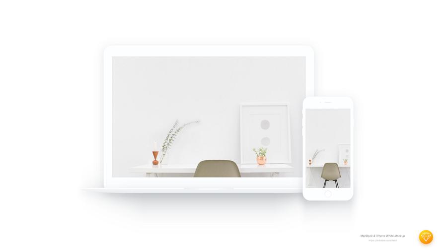 White Macbook & iPhone Mockup Sketch