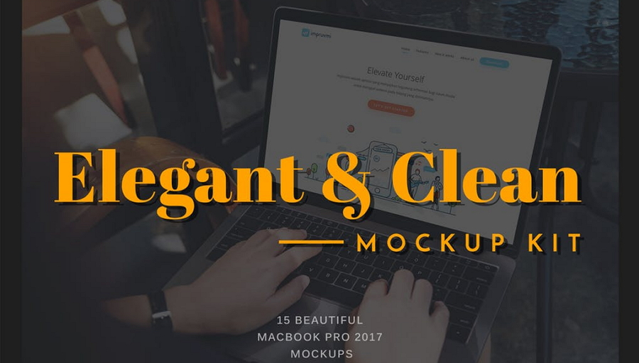 Elegant and Clean Macbook Pro Mockup PSD