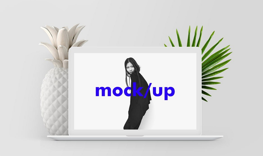 Minimalist Macbook Screen Showcase Mockup PSD