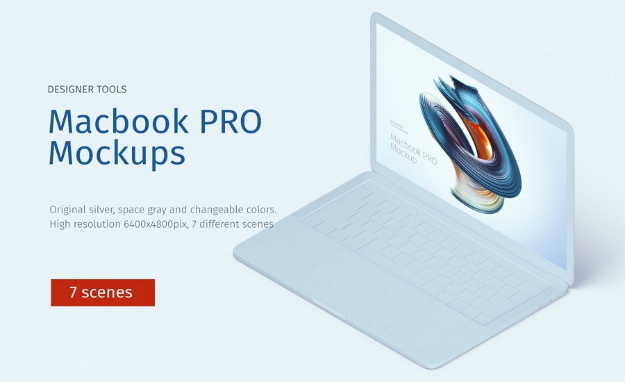 7 Creative Macbook Pro Scenes Mockup PSD
