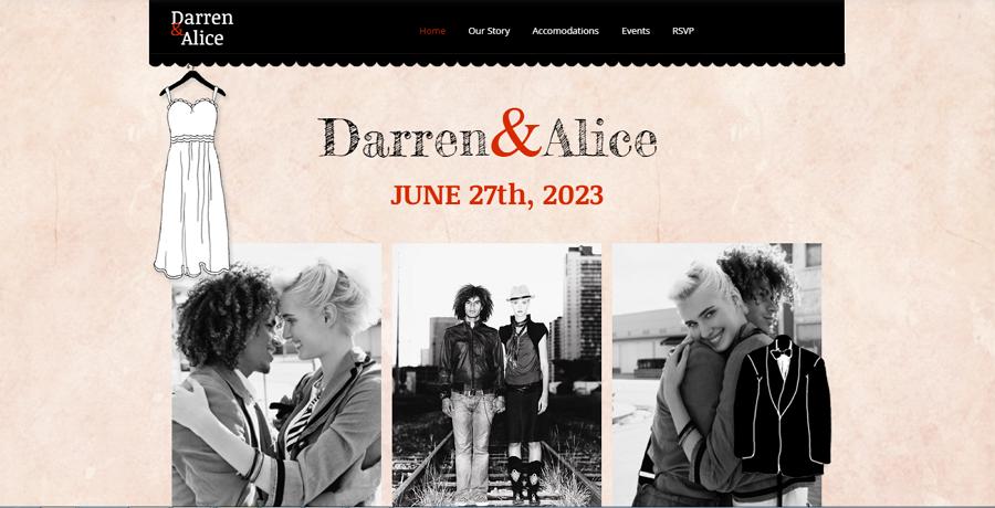 Darren and Alice Wedding Website Template Free