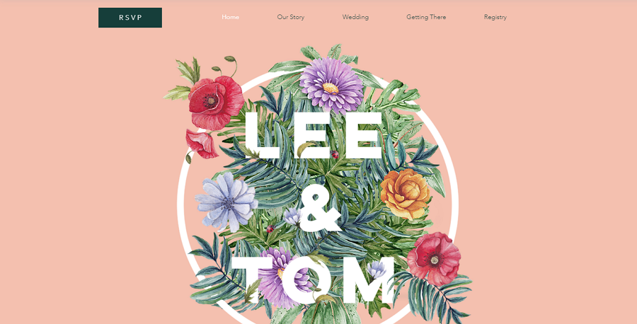 Free Floral Wedding Invitation Website Template