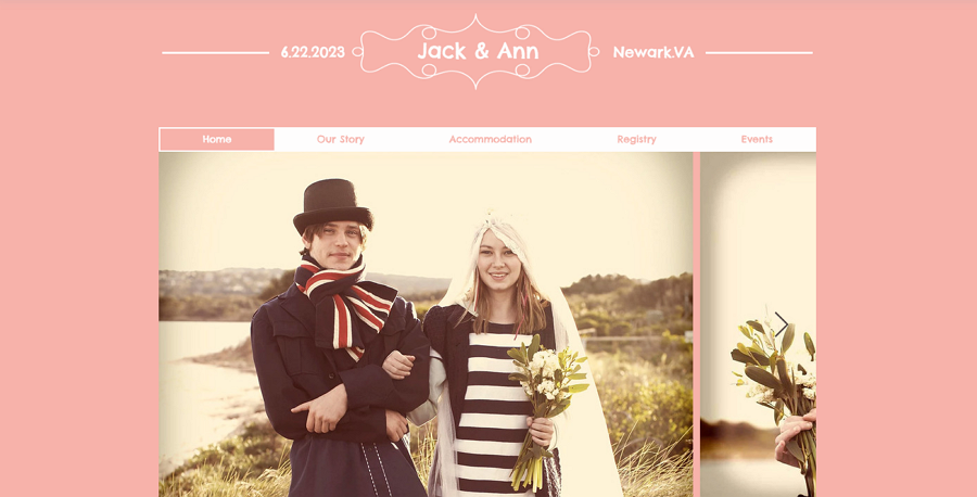 Free Jack and Ann Wedding Event Website Template