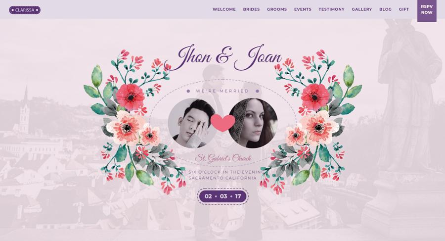 Clarissa Modern HTML Wedding Template