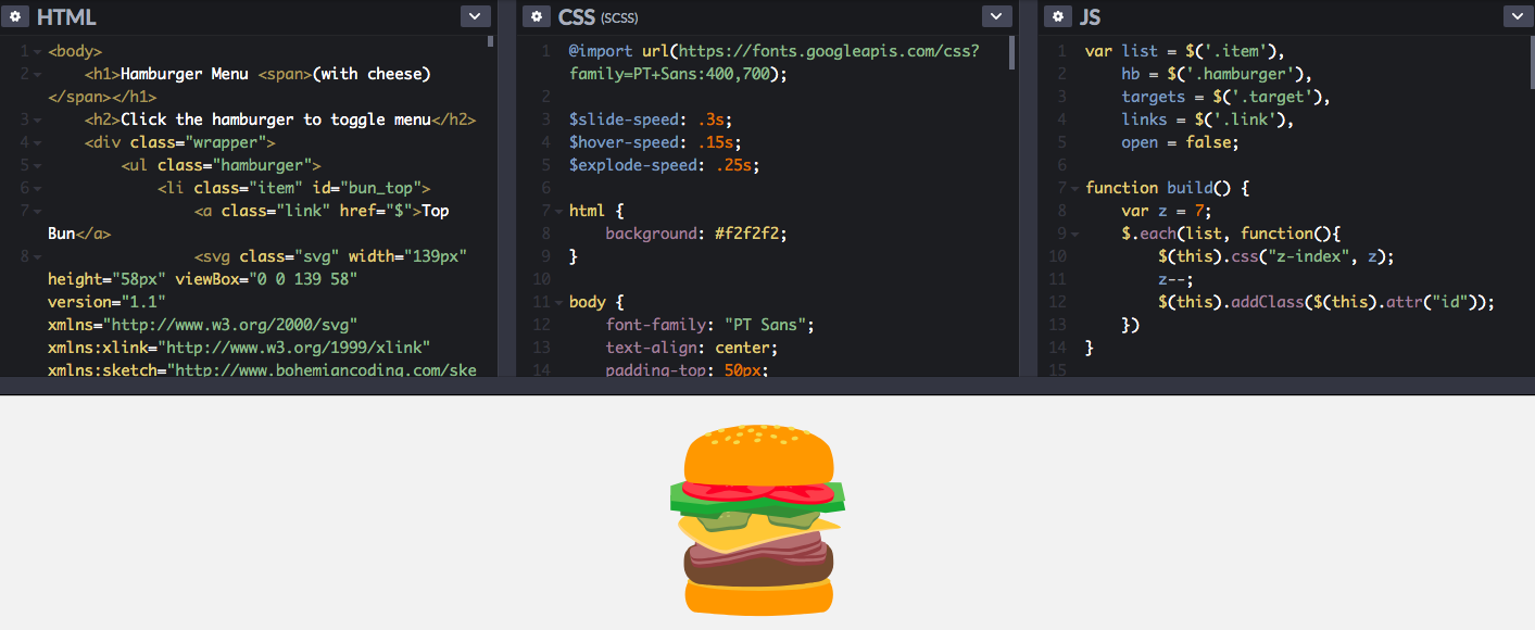 Hamburger Menu with Cheese by Michael Smart