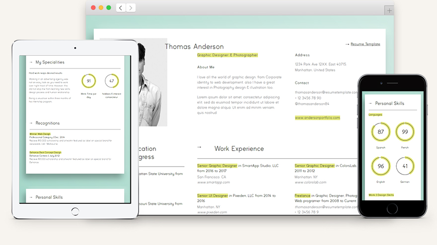 HTML Web Resume Template Model