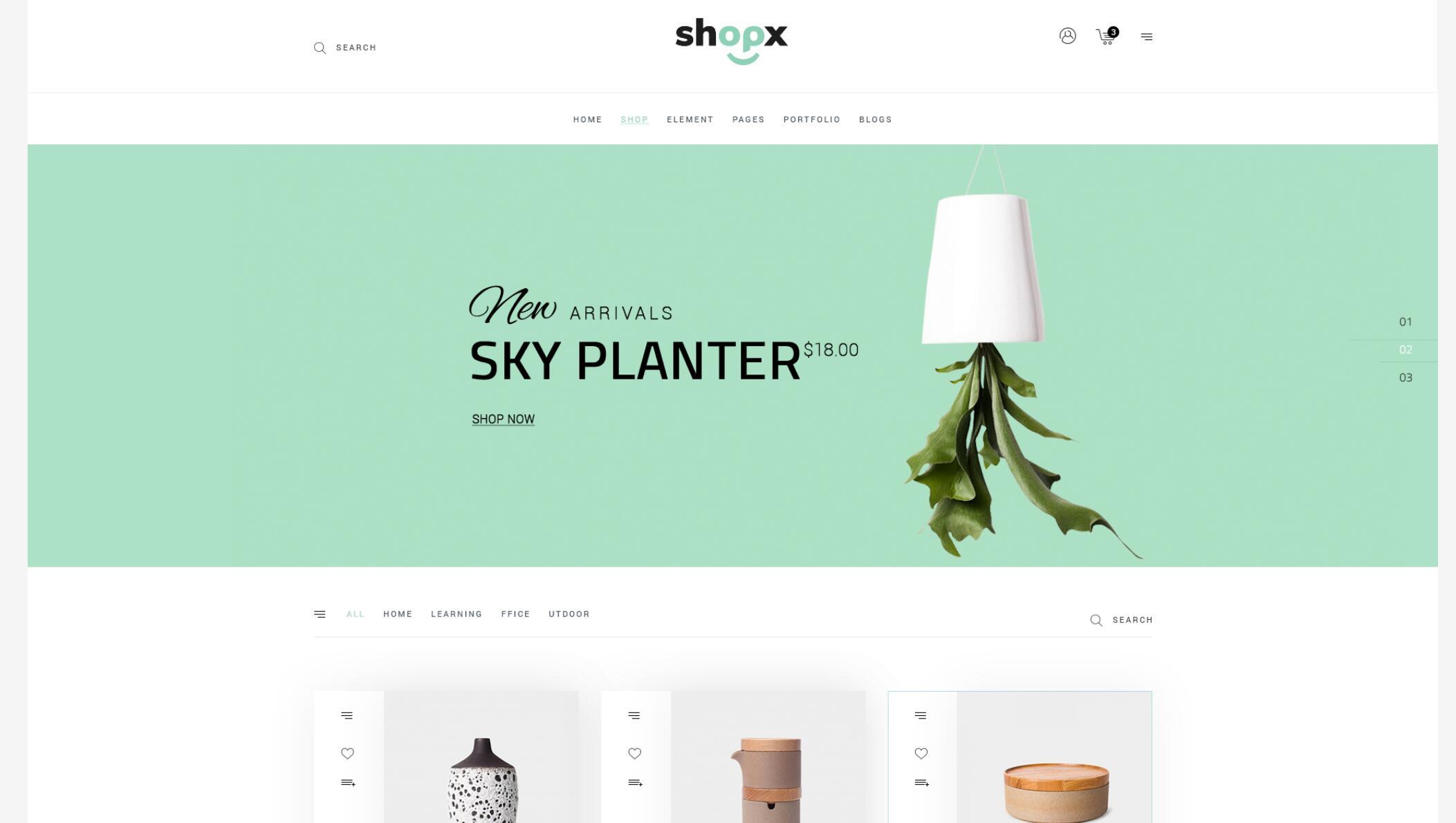 Shopx- 响应式电子商务商店PSD模板
