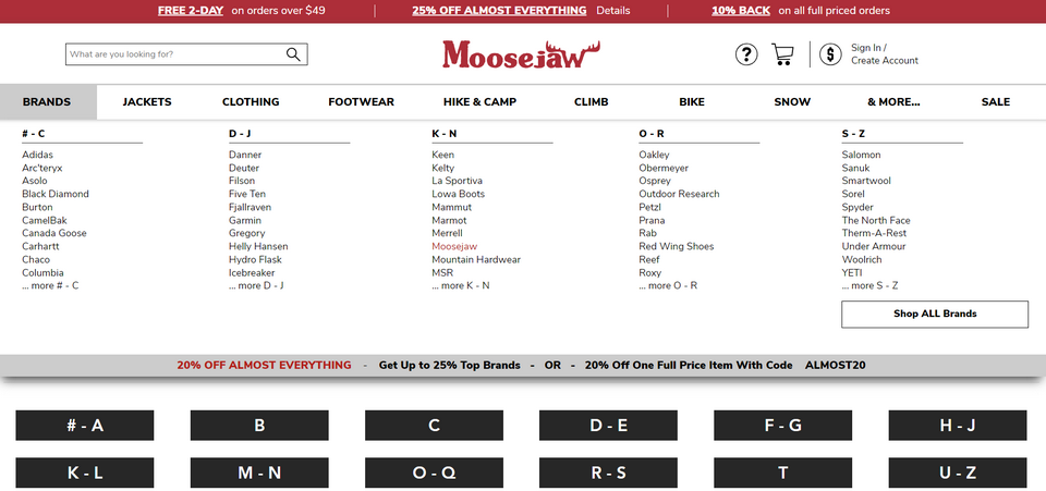 Moosejaw的大幅菜单页面