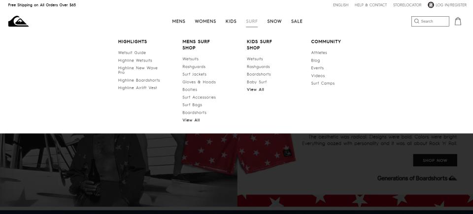 Quiksilver网站的mega menu设计