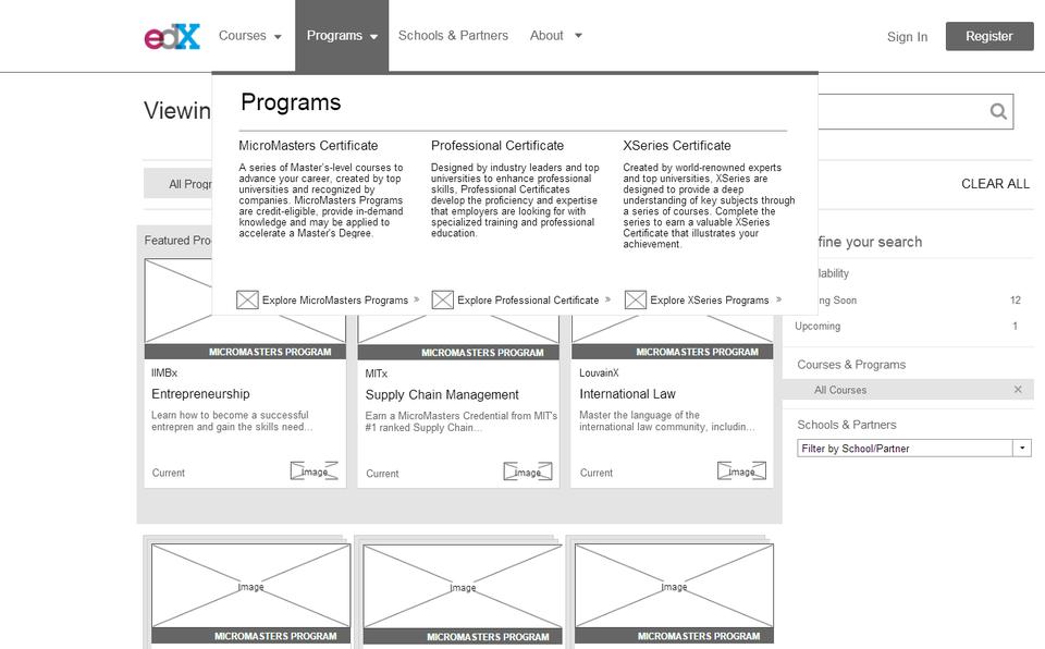 mockplus 原型例子-edx网站的mega menu
