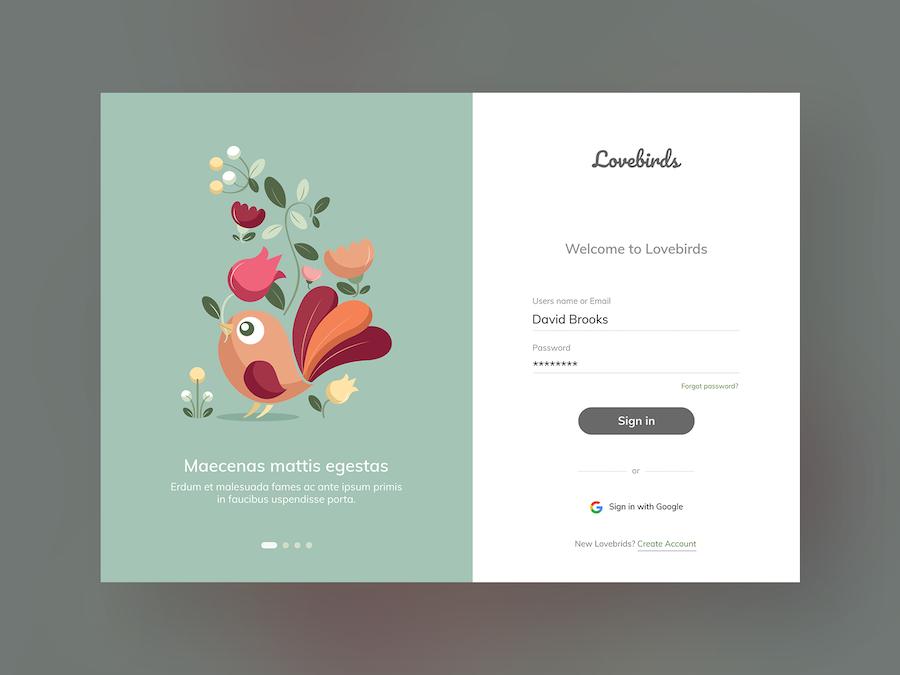 Lovebirds网站登录设计