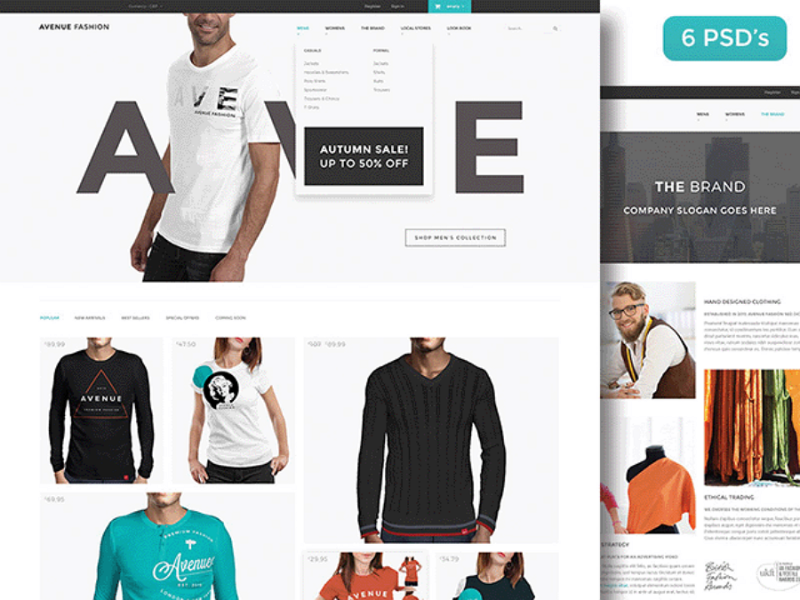 Avenue Fashion -免费的PSD电子商务网站模板
