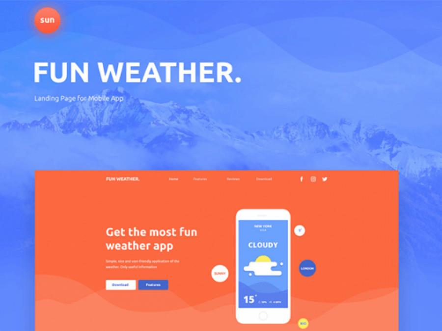 Fun Weather -适用于应用程序的免费着陆页模板