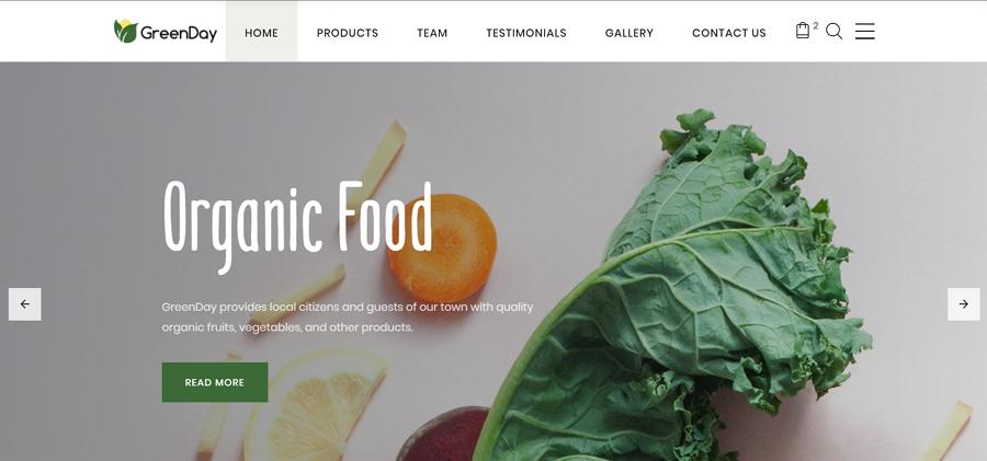 Green Day - 食品类HTML着陆页面模板