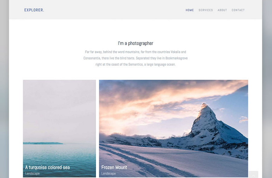 Explorer - 使用Bootstrap的免费HTML摄影网站模板