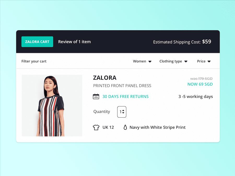 对Zalora重新设计的购物车概念