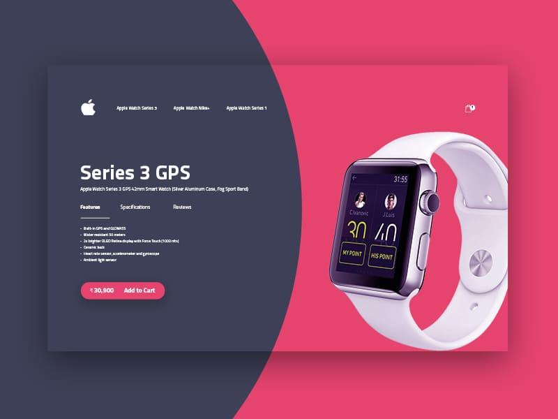 Apple watchseries 3手表购买的页面设计概念