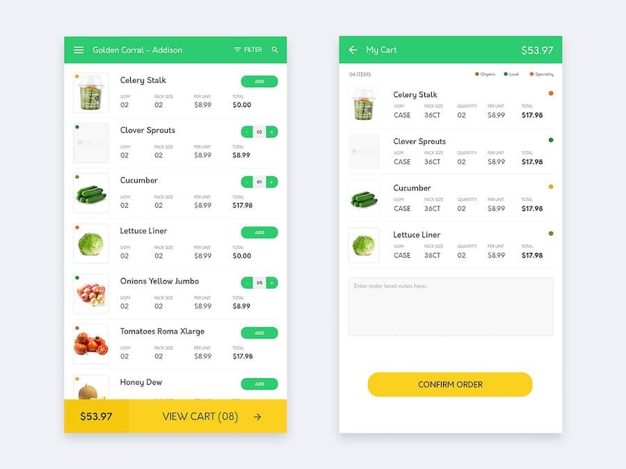 App商品购物列表设计