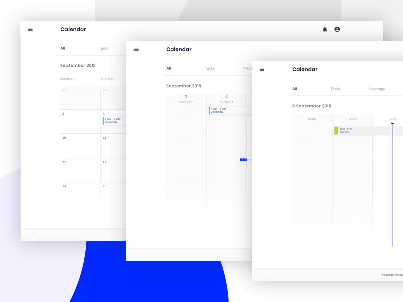 Web Calendar UI Sketch Resource