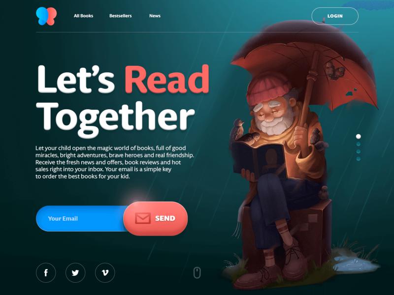 吉祥物角色用作销售儿童书籍的电子商务网站的英雄形象