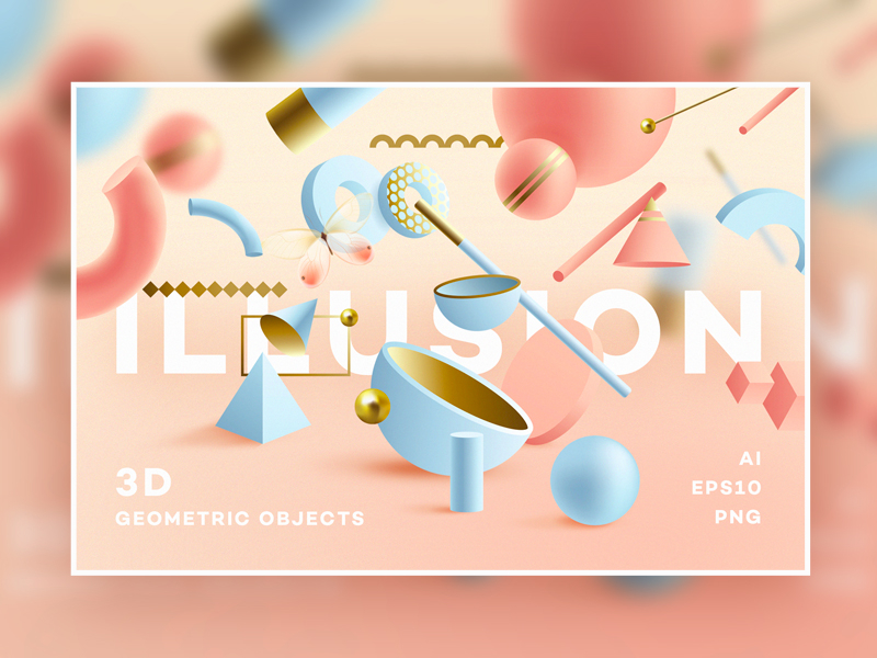 Website background design Illusion 3D Geometric Objects