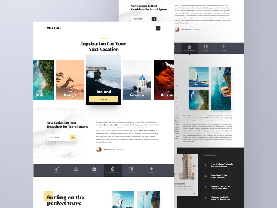 Travel Article Page card ui design