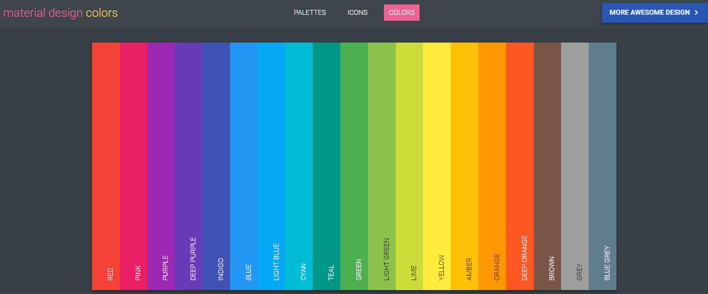 UI设计师必备工具-Material Design Color