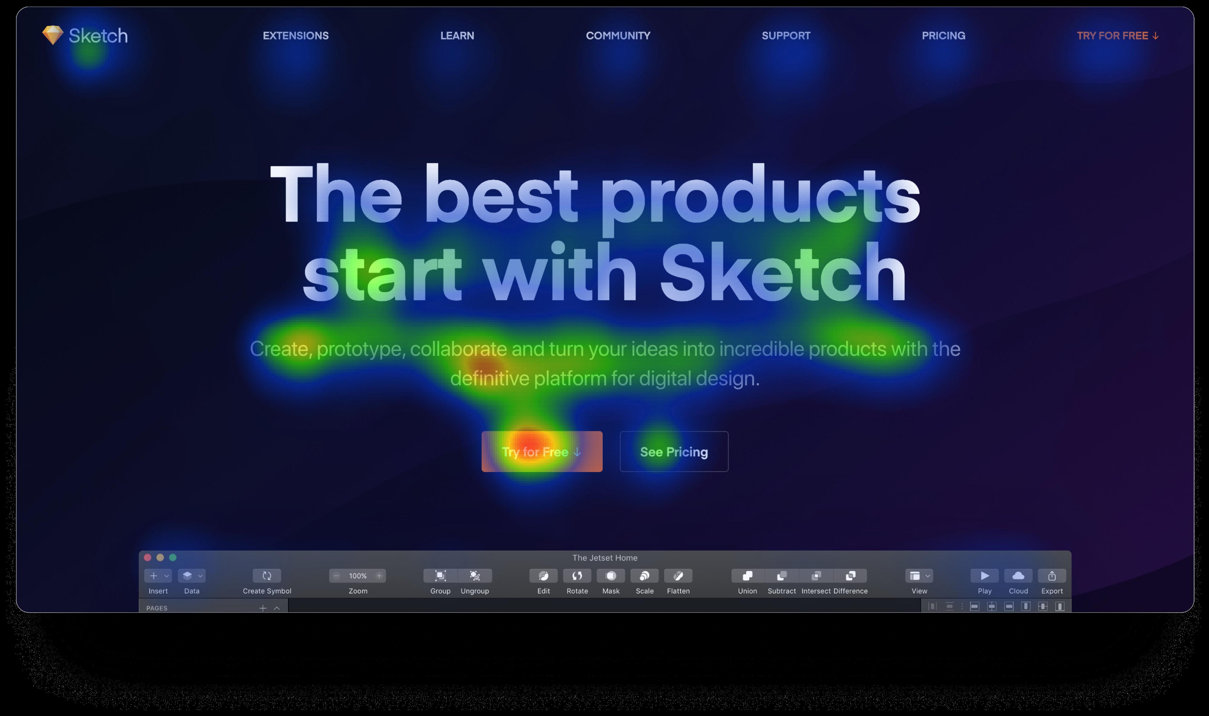 VisualEyes 插件生成的Sketch App页面视觉热力图