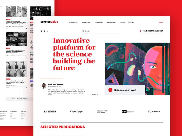 科学平台的网页使用水平线分隔不同的内容版块,并使其结构更清晰。