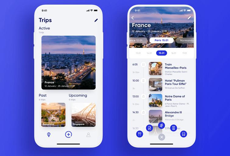 旅行App不需要任何额外的视觉元素,只需要利用空白来分隔列表中的项目。