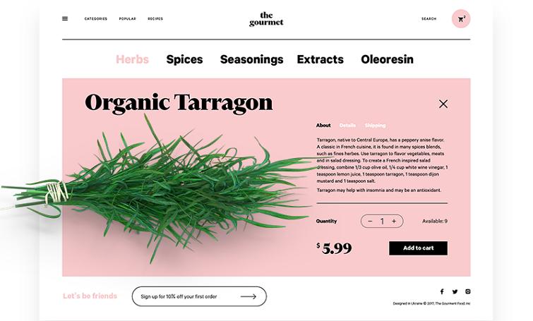 出售草药的电子商务网站的产品页面带有中间分隔符,可以清晰地将结账区与产品描述分隔开来