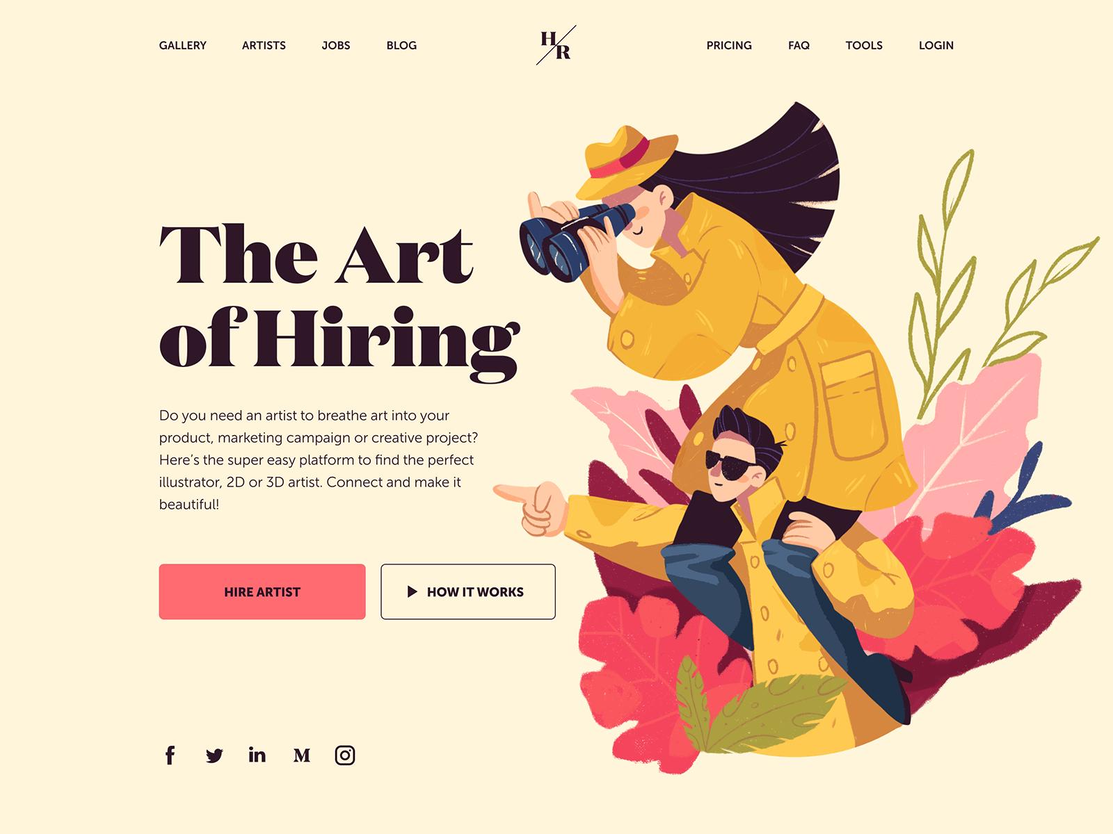 某招聘艺术家平台的着陆页